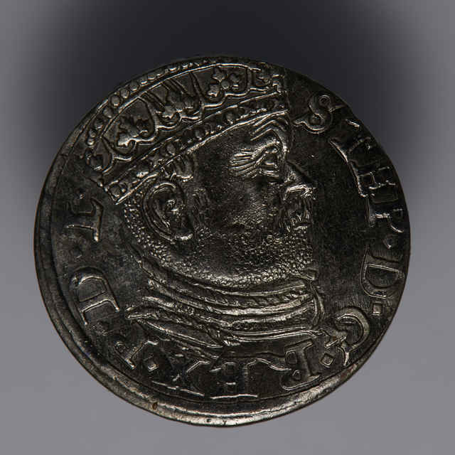 Minca kráľa Štefana Báthoryho (Trojgroš, Livónsko, 1586)