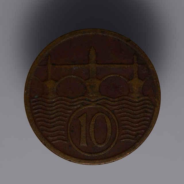 Minca kovová, (meď), 10 halierov; Republika československá, rok 1927, priemer 19 mm, zn. Š
