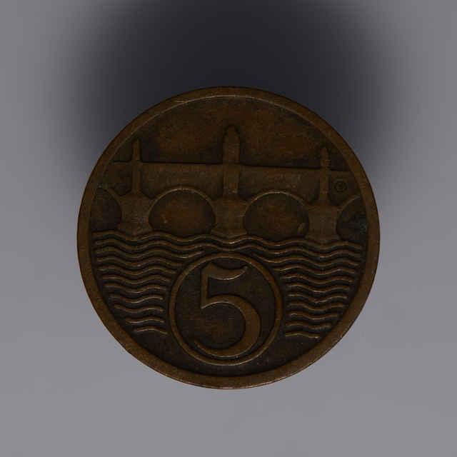 Minca kovová, (meď), 5 halierov; Republika československá, rok 1931, priemer 17 mm, zn. Š