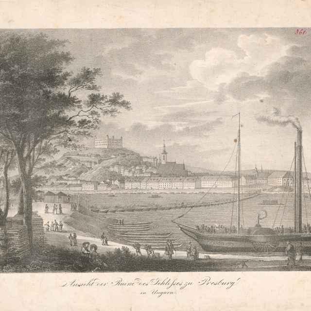 Pohľad na Bratislavu z juhovýchodu - Stredoeurópsky grafik z 19. storočia