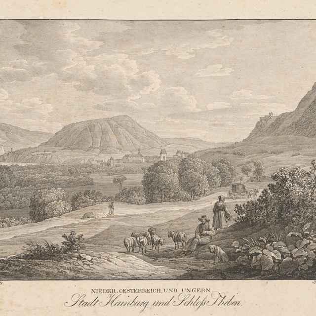 Pohľad na Hainburg a hrad Devín - Alt, Jakob