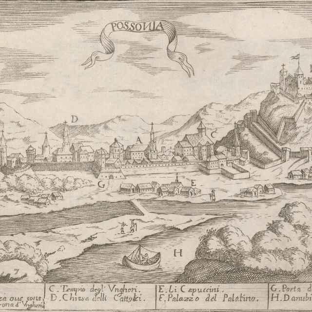 Pohľad na Bratislavu z juhu - Stredoeurópsky grafik z 2. polovice 17. storočia