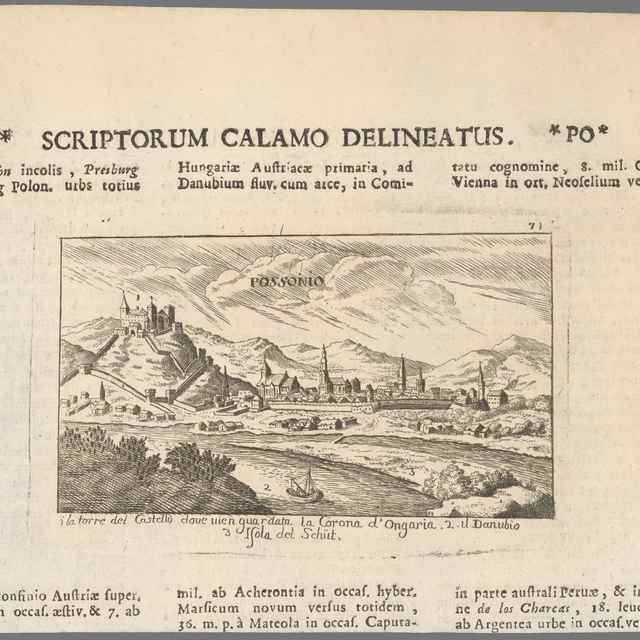 Bratislava v 17. storočí - pohľad z juhu - Sandrart, Jacob von