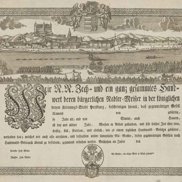 Cechový list bratislavských ihlárov - Prixner, Gottfried