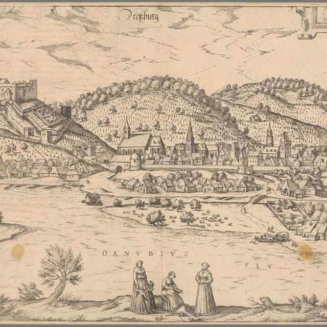 Bratislava v 16. storočí - pohľad z juhu - Hogenberg, Franz