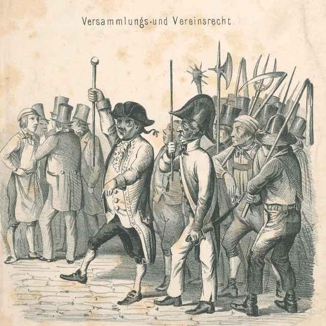 Právo zhromažďovať sa a spolčovať sa - Rakúsky karikaturista z polovice 19. storočia