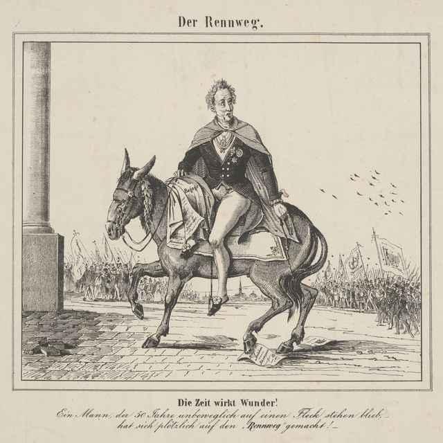 Karikatúra Metternicha na oslovi - Stredoeurópsky grafik z 19. storočia