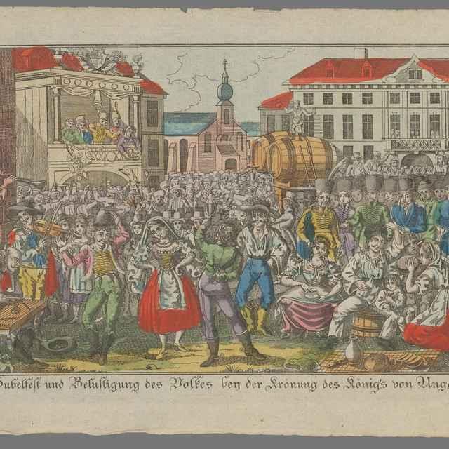 Ľudová slávnosť pri príležitosti korunovácie Ferdinanda V. - Stredoeurópsky grafik z 19. storočia