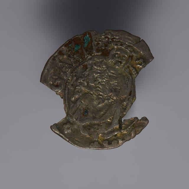 Denár Vladislava II. (1490 - 1516), uhorský, Kremnica, zn. K - H, 1506, fragment - z hromadného nálezu.