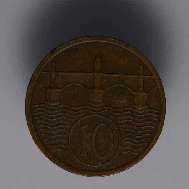 Minca kovová, (meď), 10 halierov; Republika československá, rok 1922, priemer 19 mm, zn. Š