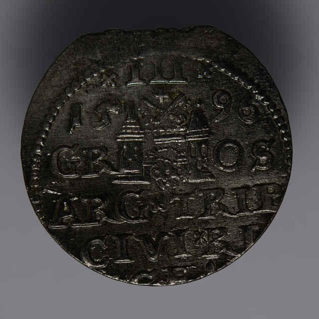 Minca kráľa Žigmunda III. Vasu (Trojgroš, Livónsko, 1596)