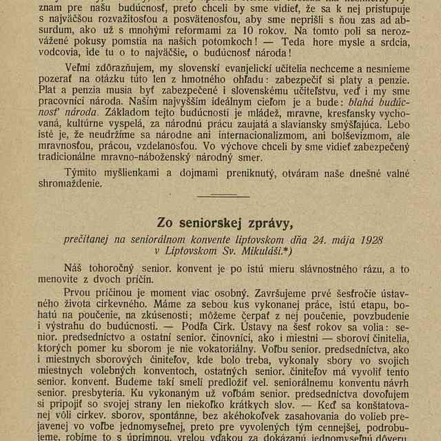 Zo seniorskej zprávy, prečítanej na seniorálnom konvente liptovskom dňa 24. mája 1928 v Liptovskom Sv. Mikuláši
