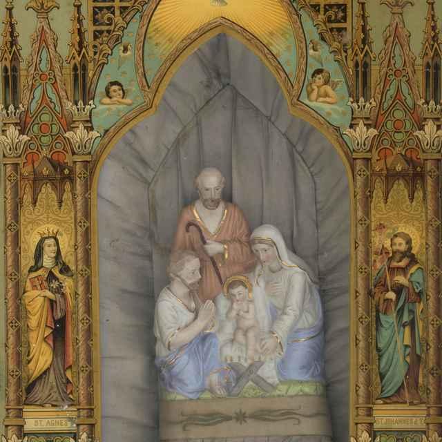 Svätá rodina a pastier, vkladaný sakrálny obraz, podmaľba na skle