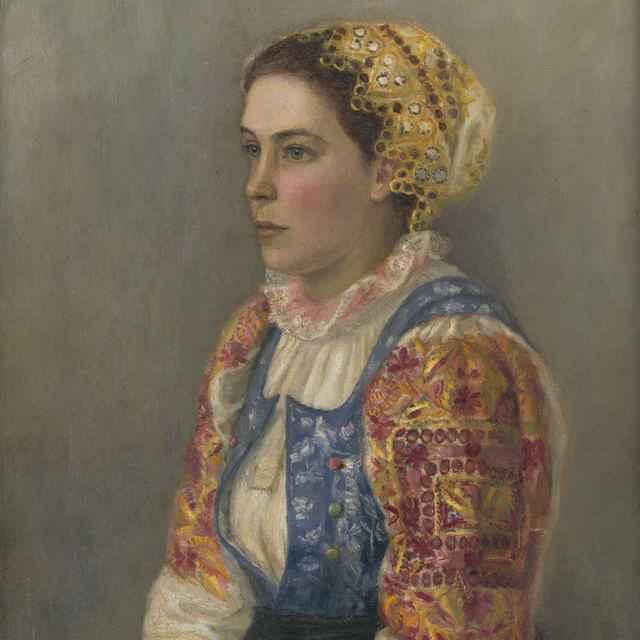 D. V. Zgorski, žena v ľudovom odeve, olejomaľba - D.v. Zgorski