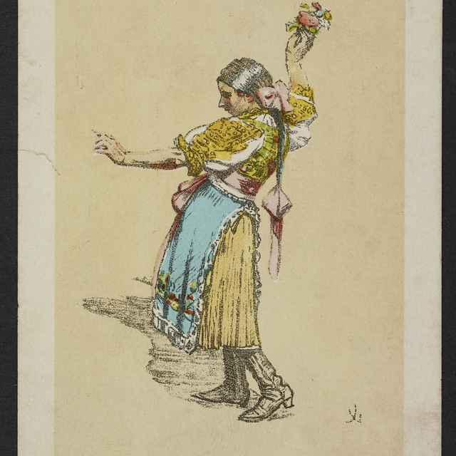 pohľadnica farebná, dievča v ľudovom odeve, autor J. Úprka - Jóža Úprka