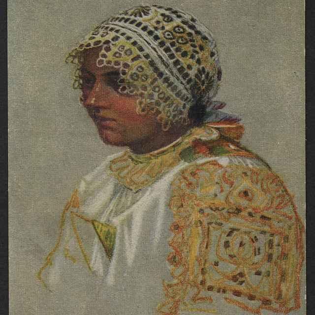 pohľadnica farebná, portrét ženy v piešťanskom ľudovom odeve - Joža Uprka.