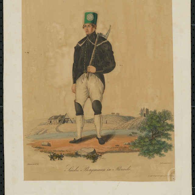 Grafický list, Saský baník v slávnostnej uniforme, litografia, 1830 - Wunderlich, G.