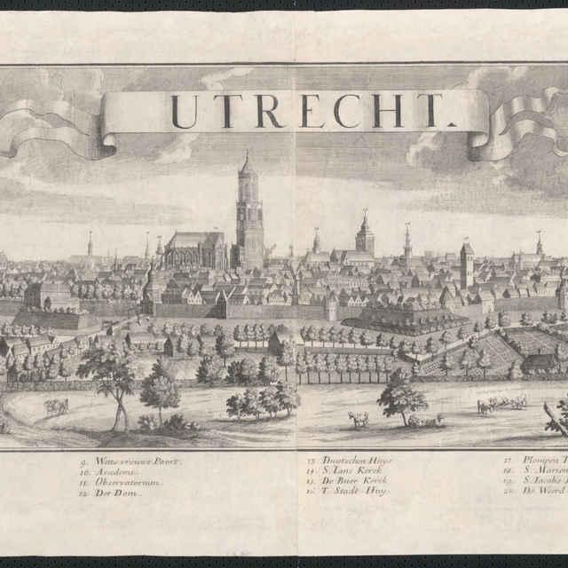 Obraz, Utrecht, veduta, autori: Johann Friedrich Probst, Friedrich Bernhard Werner, grafika, r.1729-1750 - Werner, Friedrich Bernhard