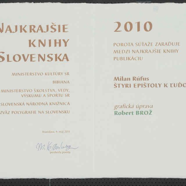Ocenenie Najkrajšie knihy Slovenska 2010