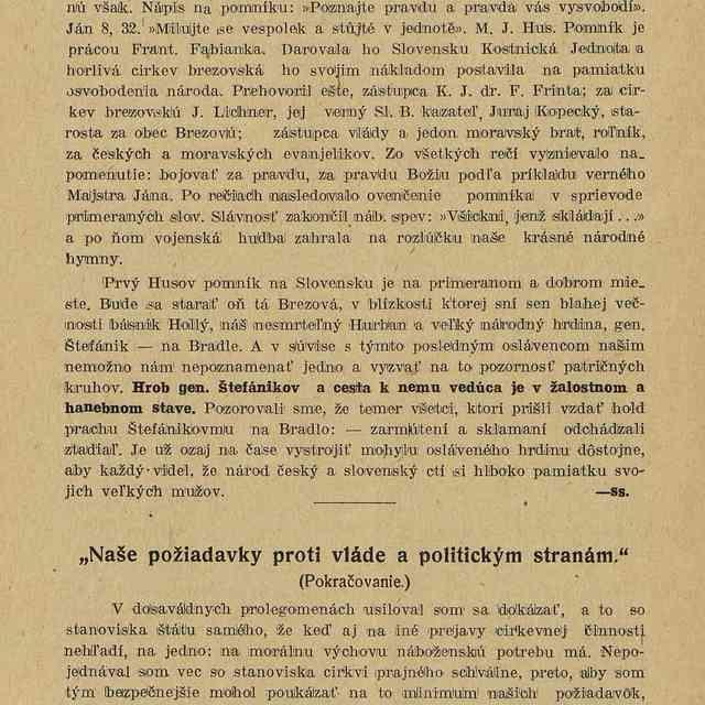 """""""Naše požiadavky proti vláde a politickým stranám."""" : - O. Č."""