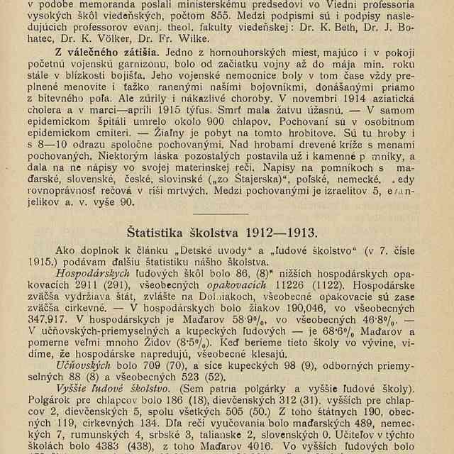 Štatistika školstva 1912-1913 - Ostriežsky