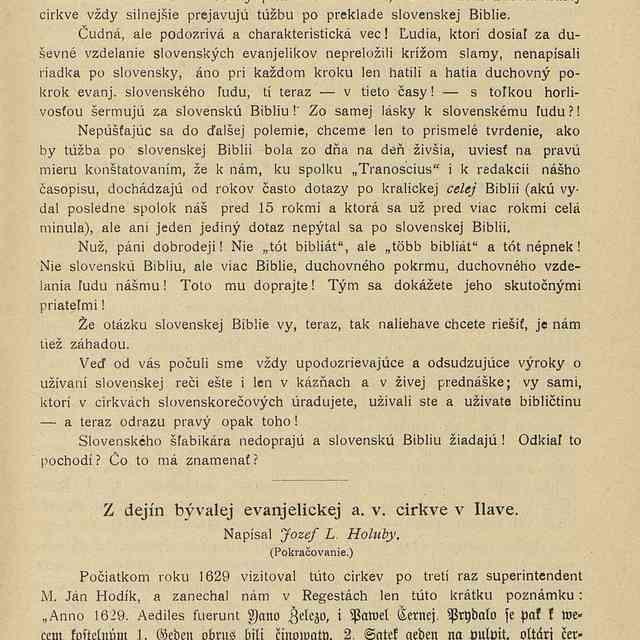 Z dejín bývalej evanjelickej a. v. cirkve v Ilave - Holuby, Jozef Ľudovít