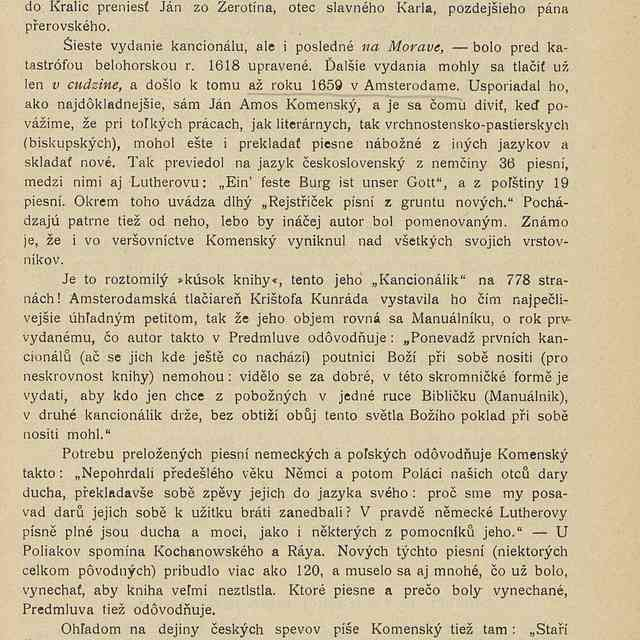 Jan Amos Komenský ako vydavateľ kancionála Českobratrskej Jednoty - Fr., Slaměník