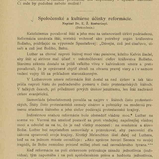 Spoločenské a kultúrne účinky reformácie - Ľ. Ž. Szeberényi