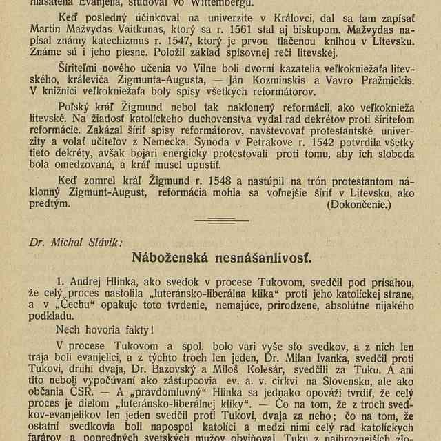 Náboženská nesnášanlivosť - Slávik, Michal