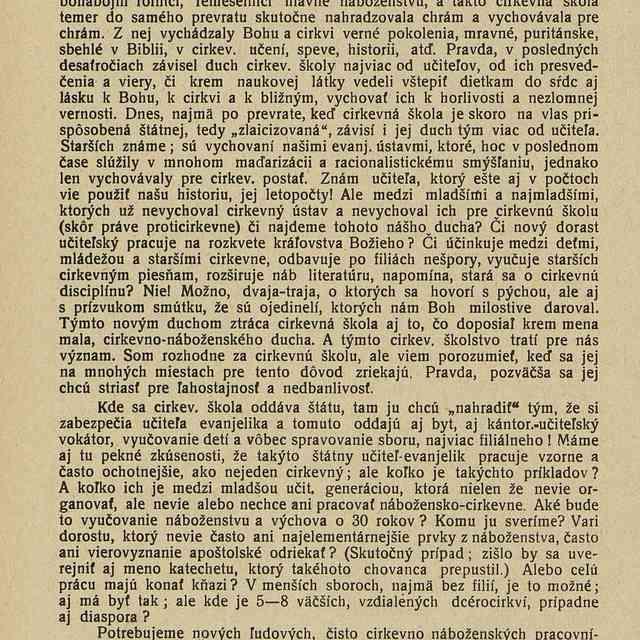 Poštátnenie cirkevných škôl a diakoni - J. V. H.