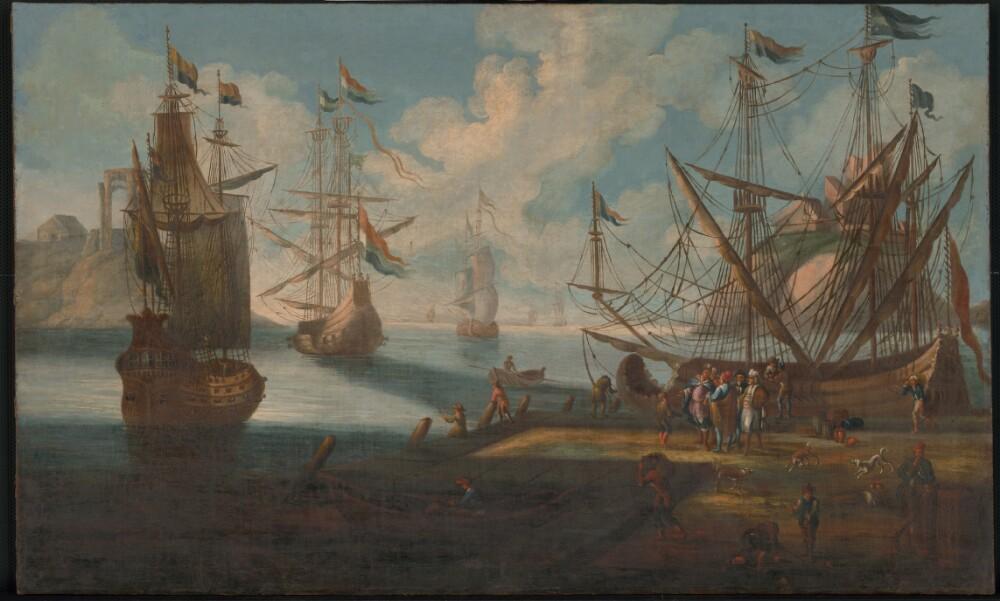 Obraz, V prístave, olejomaľba, zač.18.stor., zarámované