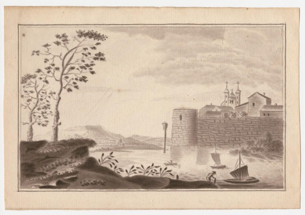 Neznámy autor: Pevnosť nad vodou. Papier, akvarel, ceruza