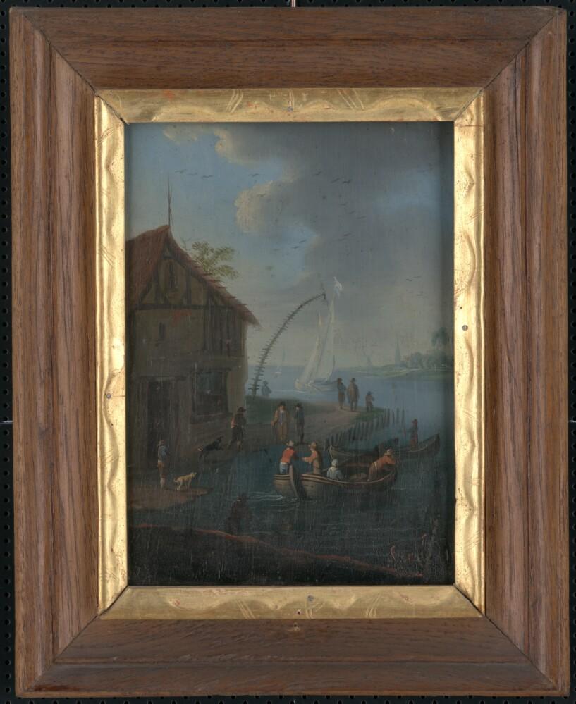 Obraz, V prístave II., olejomaľba, 18.stor., zarámované