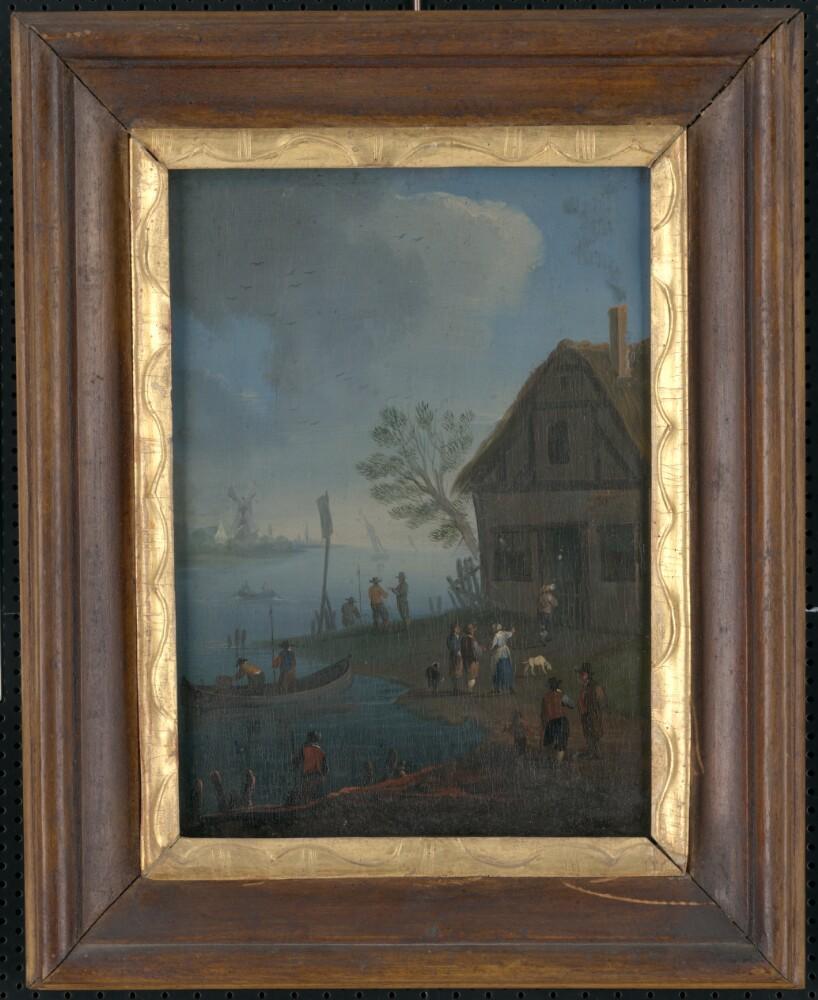 Obraz, V prístave I., olejomaľba, 18.stor., zarámované