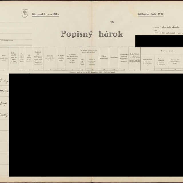 Sčítací hárok 1044/11368, Babín (Námestovo)