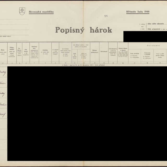 Sčítací hárok 1044/14139, Babín (Námestovo)