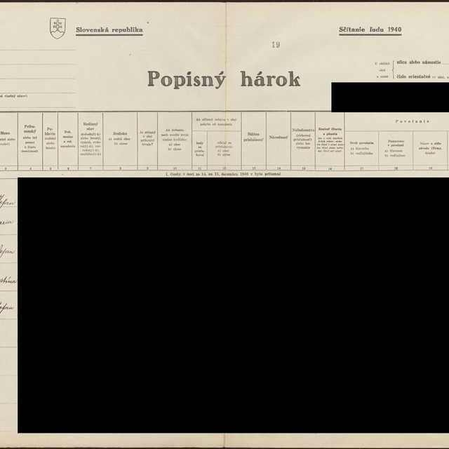 Sčítací hárok 1044/16020, Babín (Námestovo)