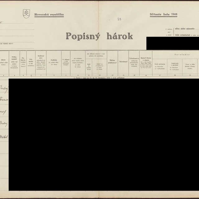 Sčítací hárok 1044/16119, Babín (Námestovo)