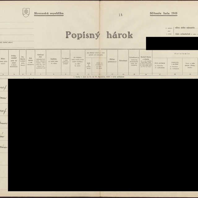 Sčítací hárok 1044/16515, Babín (Námestovo)