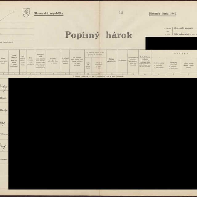 Sčítací hárok 1044/16713, Babín (Námestovo)