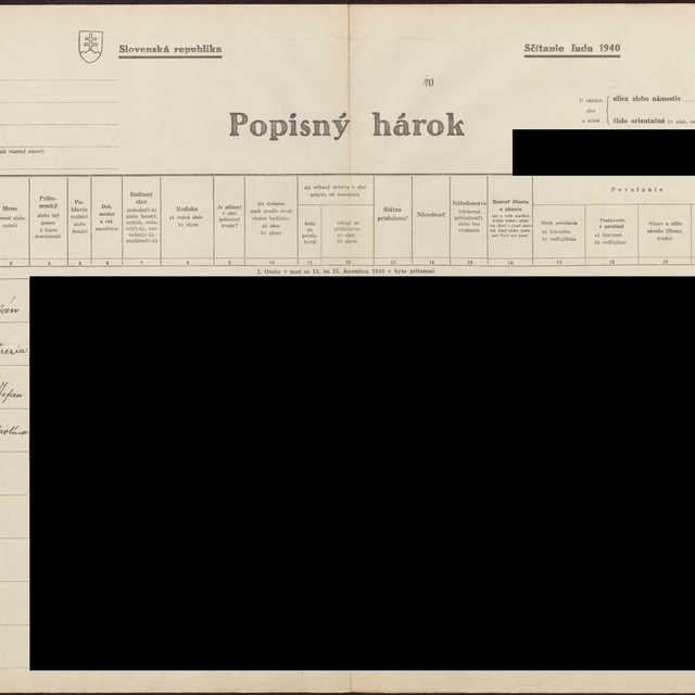 Sčítací hárok 1044/16911, Babín (Námestovo)