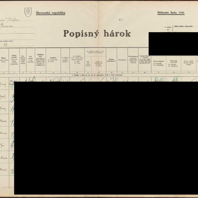 Sčítací hárok 1714/14215, Hencovce (Vranov nad Topľou)