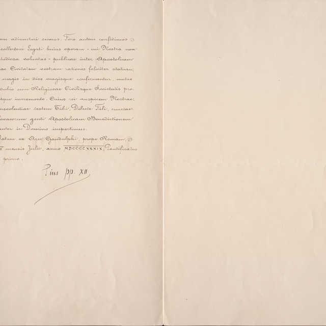 Poďakovanie Sv. Otca Pia XII. za vyslanie vyslanca Slovenskej republiky do Vatikánu