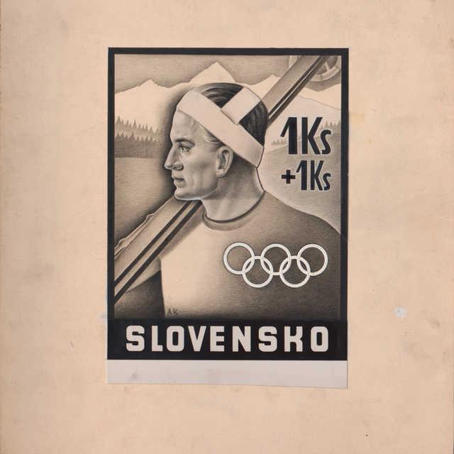 Návrh poštovej známky s motívom športu pri príležitosti neuskutočnených olympijských hier