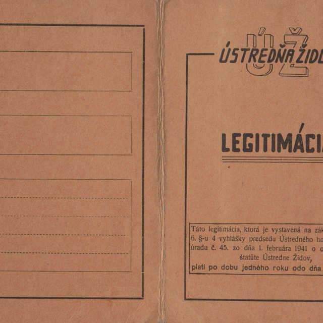 Legitimácia vydaná Ústredňou židov