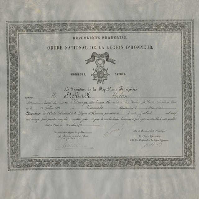 Rad Čestnej légie udelený M.R. Štefánikovi