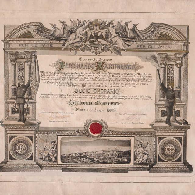 Diplom udelený F. Martinengovi