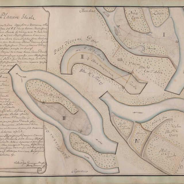 Kolorovaná mapa dunajských ramien pri Gabčíkove