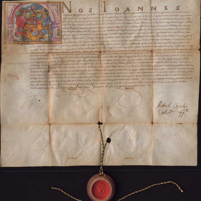 Armáles s farebným vyobrazením erbu udelený magistrovi Damianovi